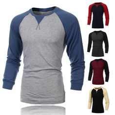 Sale 27% (13.6$) - New Mens Fashion Round Neck Raglan Long Sleeve T-shirt