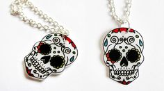 skull charms made with shrink plastic.