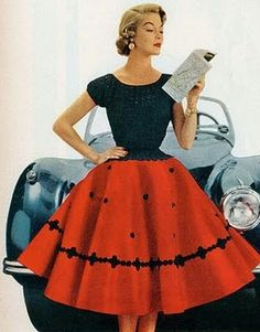 Jean Patchet wearing a red and black circle skirt, 1950s.