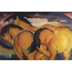 Little Yellow Horses 1912 Canvas Art - Franz Marc (24 x 36)