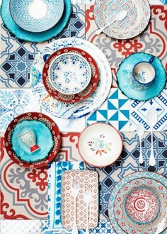 Pretty mixed print eclectic dishes red aqua turquoise by taloola