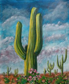 Desert Cactus Original Acrylic Painting by EclecticSquareArts, $45.00