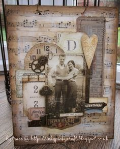 Inkypinkycraft: All you need is love for A Vintage Journey with a card using Tim Holtz, Ranger, Idea-ology, Sizzix and Stamper's Anonymous products; Mar 2015