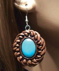 """Hand Painted Faux, Laced Leather Earring... Fishhook.. (1"""" x 1 1/4""""). Easy to wear! The look of the genuine with a genuinely great price!  www.maverickrose.com"""