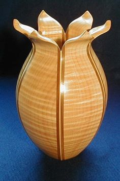 "Lost Wood Vase, 8"" - Curly Maple and Walnut by Lowell Converse"