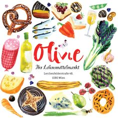 Watercolor illustrations and branding for small grocery store in Vienna (Austria). Old school food approach, authentic and good quality.