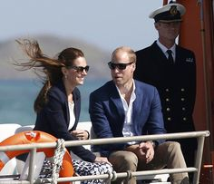 Ahoy there! Kate's blazer gave her an edge of nautical chic as she and William travelled by boat