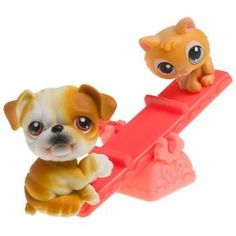 Littlest Pet Shop Pet Pairs - Bulldog and Kitten on See-saw