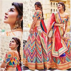 You can be assured to make a great style statement with this multi color satin silk lehenga. This lehenga is enhanced with digital print work all over.Buy this latest designer lehenga choli online .Paired with matching choli and net dupatta. Jacqueline Fernandez, Lehenga Choli Designs, Indian Lehenga, Silk Lehenga, Black Lehenga, Silk Dupatta, Indian Bridal Outfits, Indian Designer Outfits, Party Wear Lehenga