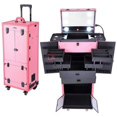 AW Pink Rolling Makeup Case Pro Hair Stylist Barber Artists Case Multifunction Lighted Lockable ** Read more at the image link. <-- This would be amazing for theatre. Rolling Makeup Case, Makeup Train Case, Makeup Case On Wheels, Makeup Storage, Makeup Organization, Makeup Suitcase, Rangement Makeup, Professional Makeup Case, Festival Make Up