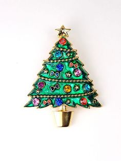 Rhinestone Multi Color Crystal Green Enamel Christmas Tree Pin Pendant | eBay