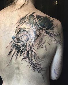 #lynx #bobcat #sketchtattoo #blacktattoo #backtattoo #loiseautattoo #faubourgtattooclub