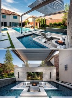 A Sunken Lounge, A Cantilevered Deck, And A Spa With A Fireplace Help Give This Pool A Luxurious Resort-Like Feeling These creative swimming pool designs make a splash in your back yard .These creative swimming Backyard Pool Landscaping, Backyard Pool Designs, Swimming Pools Backyard, Swimming Pool Designs, Lap Pools, Indoor Pools, Pool Decks, Landscaping Design, Patio Design