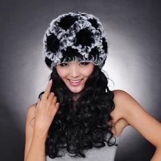 2017 Handmade Women's Fashion Natural Knitted Rex Rabbit Fur Hats Female Genuine Winter Women Fur Caps Lady Headgear Beanies
