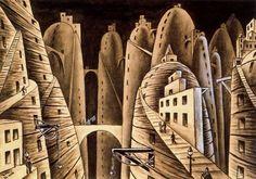 Alejandro Xul Solar - Ciudá y abismos, style: surrealism