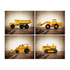 This listing is for a set of Four photo prints on lustre paper of some old 60s matchbox trucks they are weathered with age and the paint is chipping that adds to the vintage charm. These would be great for your boy who loves diggers and construction vehicles. Select size from drop down menu. Nursery Decor Boy, Boys Room Decor, Boy Room, Nursery Ideas, Bedroom Ideas, Kid Essentials, Truck Art, Truck Room, Barn Wood