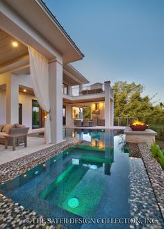 "Pool and Verandah. The Sater Design Collection's luxury, modern home plan ""Moderno"" (Plan #6967). saterdesign.com"