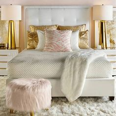 Glamorous Bedroom with Pink and Gold Details