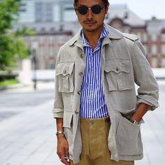 "1,525 Likes, 25 Comments - Tomoyoshi Takada (@tomoyoshi_takada) on Instagram: """"linen safari jacket with work trousers..."" : @mal3pir21  #brillaperilgusto  #tokyo #fashion…"""