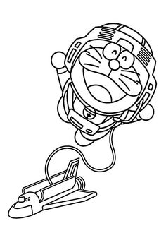 Doraemon Astronaut Coloring Pages For Kids Printable Free
