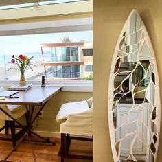 """Home by the beach"" Mirror Mosaic Surfboard"