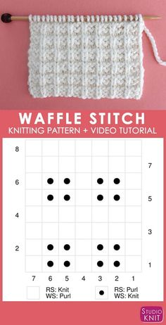 Chart of Waffle Knit Stitch Pattern with Video Tutorial by Studio Knit - Waffle Stitch Knitting Pattern Knitting Stiches, Knitting Blogs, Knitting Charts, Knitting For Beginners, Easy Knitting, Loom Knitting, Knitting Patterns Free, Knit Patterns, Knitting Projects