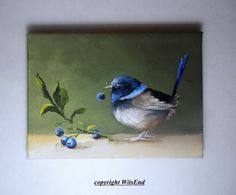 THE LITTLE THIEF Nature is full of delicious colors.....the frosty blue of fresh blueberries and, of course, the splendid blues of the Superb Fairy Wren! this piece is a fully hand painted original by seller (© witsend) on a stretched gallery canvas and may displayed without a frame or easily pops into a standard sized, ready made frame. Your piece will arrive with all necessary hanging apparatus in place for your immediate enjoyment. As with all of my pieces, this piece is artist signed…