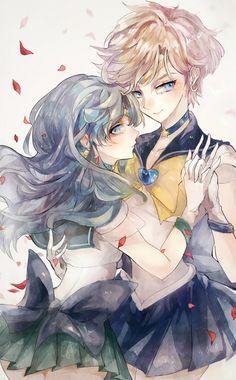 Sailor Moon - Uranus x Neptune / Haruka x Michiru by Pモン on pixiv