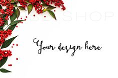 SET of 3 + FREE Cropped Image | Styled stock photography | Mockup | JPG Digital Image | White Desk w/ Holiday Greenery & Red Berries | Christmas styled stock images