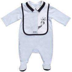 Boss Pale Blue Babygrow & Bib Gift Set at Childrensalon.com