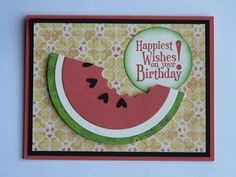 I made this Watermelon Birthday card (2015) for the first card swap I ever attended. The colors used are Watermelon Wonder, Cucumber Crush, Basic Black, and Very Vanilla. I think it turned out cute.