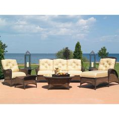Lloyd Flanders Grand Traverse 7 Piece Wicker Conversation Set