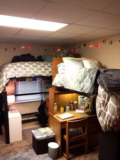 Lofted grey and blue dorm. Baylor Collins Dorm.