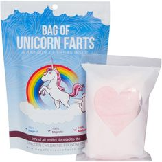 """Add some magic and sparkle uni-corniness to those Christmas stockings or Birthday party bags with these quirky fun bags of """"Unicorn Farts"""". Of course, we know it's only cotton candy...but we won't tel"""