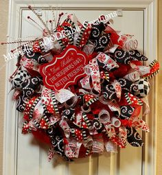 Christmas Wreath, Red and White Christmas Wreath, Christmas Deco Mesh Wreath, Whimsical Christmas Wreath