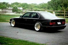 BMW E34 5 series black deep dish slammed Got #JDM? Share on our board or join the #Rvinyl Google+ Community https://plus.google.com/u/0/b/110701431422910839426/communities/118154416805893578837