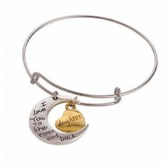 DAUGHTER+I+Love+YouTo+The+Moon+Bracelet+Two+Tone+Bangle+Charm+Adjustable+Wire
