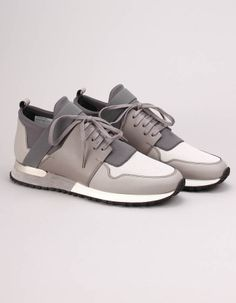 The tonal grey and dark teal BLTR trainers from Mallet have scuba neoprene and mesh panelled uppers with lace up fronts, rubber sole and a silver metal D ring to the heel. Dark Teal, Trainers, Adidas Sneakers, Footwear, Lace Up, Grey, Heels, Fashion, Tennis
