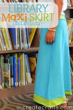 Library Maxi Skirt Tutorial by Becky at U Create. Comfortable and very simple free pattern.