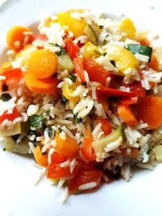 Gemüsepfanne mit Basmatireis und Mangochutney