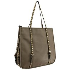 Tote Bag With Long Studded Straps ($33) ❤ liked on Polyvore featuring bags, handbags and tote bags