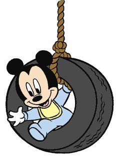 Baby Mickey on Tire Swing