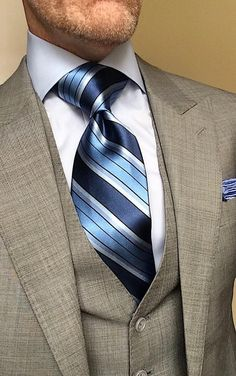 NEW - Misty Grey-Blues Striped Tie Shirt And Tie Combinations, Mens Suits, Suit Men, Designer Suits For Men, Suit Accessories, Savile Row, 3 Piece Suits, Gentleman Style, Blue Stripes