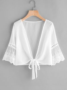 Shop Embroidered Mesh Fluted Sleeve Self Tie Kimono online. SheIn offers Embroidered Mesh Fluted Sleeve Self Tie Kimono & more to fit your fashionable needs. Plus Size Women's Tops, Plus Size Blouses, Women's Blouses, Fashion Clothes, Fashion Outfits, Womens Fashion, Jeans Fashion, Kimono Fashion, Fashion Black