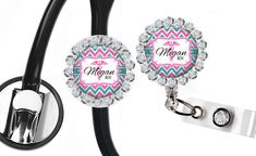 Nurse Badge Reel and Stethoscope ID, Retractable Holder Stethoscope Id Tag, Nursing Accessories, Retractable Badge Holder, Nurse Badge, Name Badges, Badge Reel, Badge Holders, Swarovski Crystals, Personalized Items