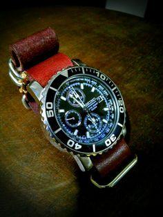 SEIKO SNA225P1 and NATO TYPE CORDOVAN original watch belt