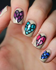 Stained glass hearts.