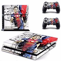 FREE SHIPPING! PS4 Lionel Messi Barcelona Football fan Decal Stickers For Sony PlayStation 4 Console  2 sticks