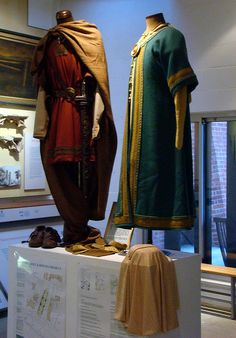 These reproduction Saxon noble costumes were made for re-enactlment for the King and Queen of Kent. Kent was a soveign state until absorbed within Wessex. Kent was the first kingdom to be convreeted to Christianity in southern England by St Augustine. These costumes are now in the Abbey museum