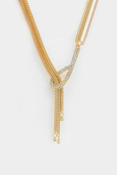 Tia Lariat Necklace in Gold on Emma Stine Limited